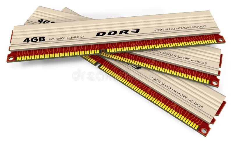 Módulos da memória DDR3 ilustração do vetor