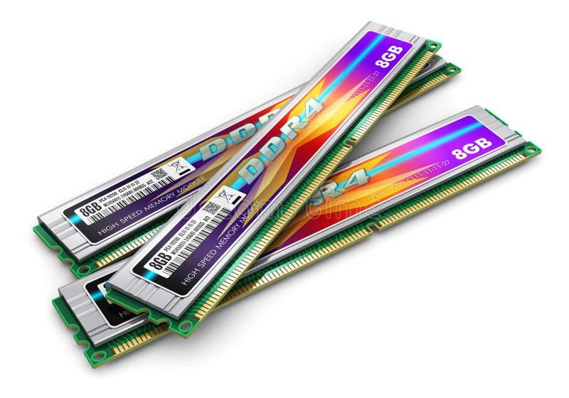 Módulos de la memoria DDR4 stock de ilustración