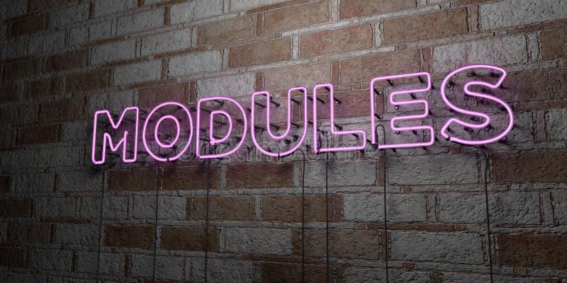 MÓDULOS - Sinal de néon de incandescência na parede da alvenaria - 3D rendeu a ilustração conservada em estoque livre dos direito ilustração stock
