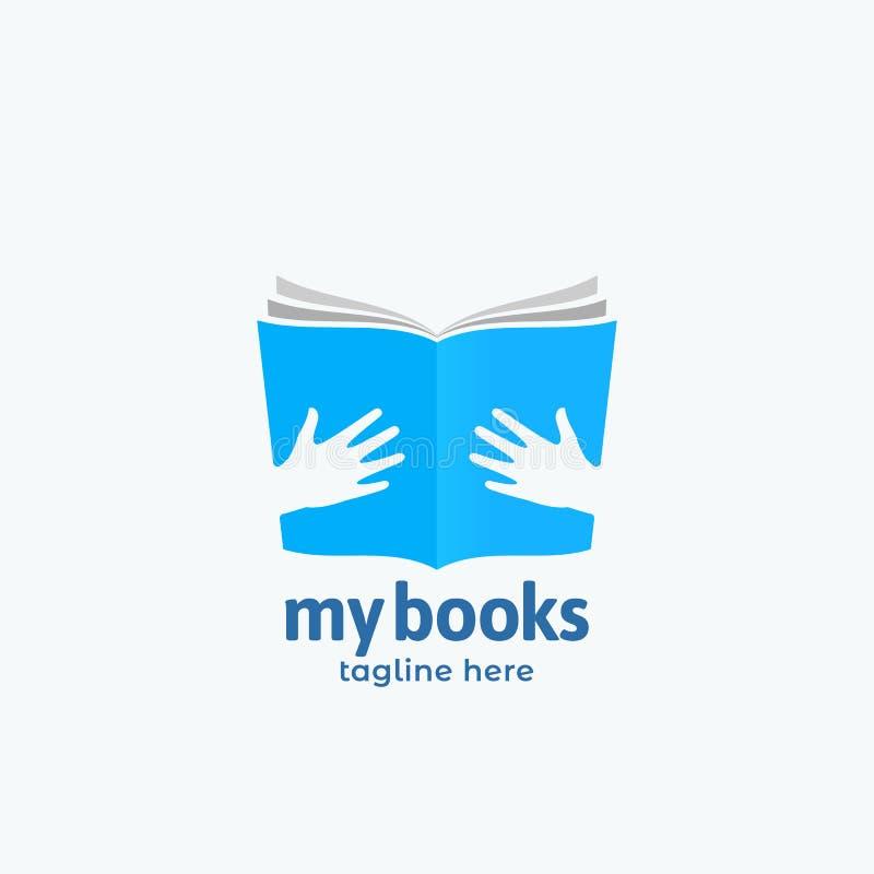 Mój książka wektoru znak, emblemat lub loga szablon Abstrakcjonistyczni, Otwiera książkę w ręka symbolu z Nowożytną typografią Ne ilustracji