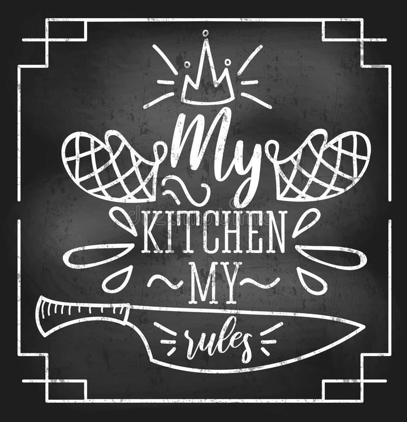 Mój kuchnia mój reguły inspiracyjna retro karta z grunge i kredowym skutkiem Motywacyjna wycena z kuchennymi dostawami chalkboard royalty ilustracja