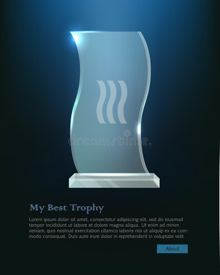 Mój Najlepszy trofeum Krystaliczna nagroda w Zaondulowanym kształcie royalty ilustracja