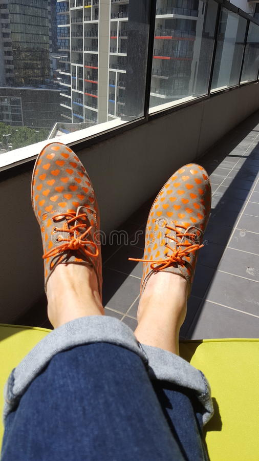 Mój nowi buty obraz stock