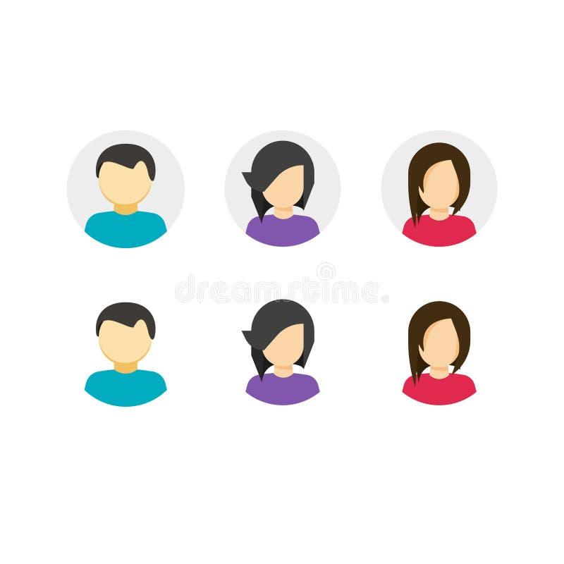 Mój obrachunkowe ikony ustawiać, płaski kreskówka styl avatar guziki z persons kobiety i symbol, mężczyzna, id lub nazwy użytkown royalty ilustracja