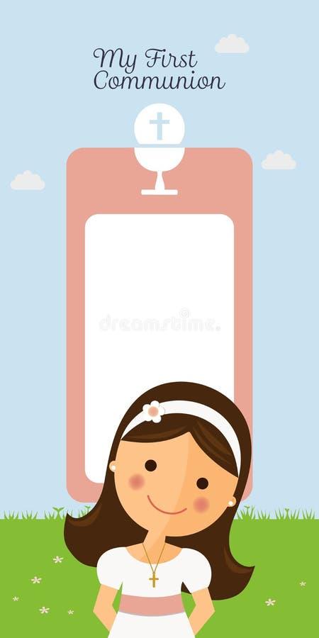 Mój pierwszy communion vertical zaproszenie ilustracji