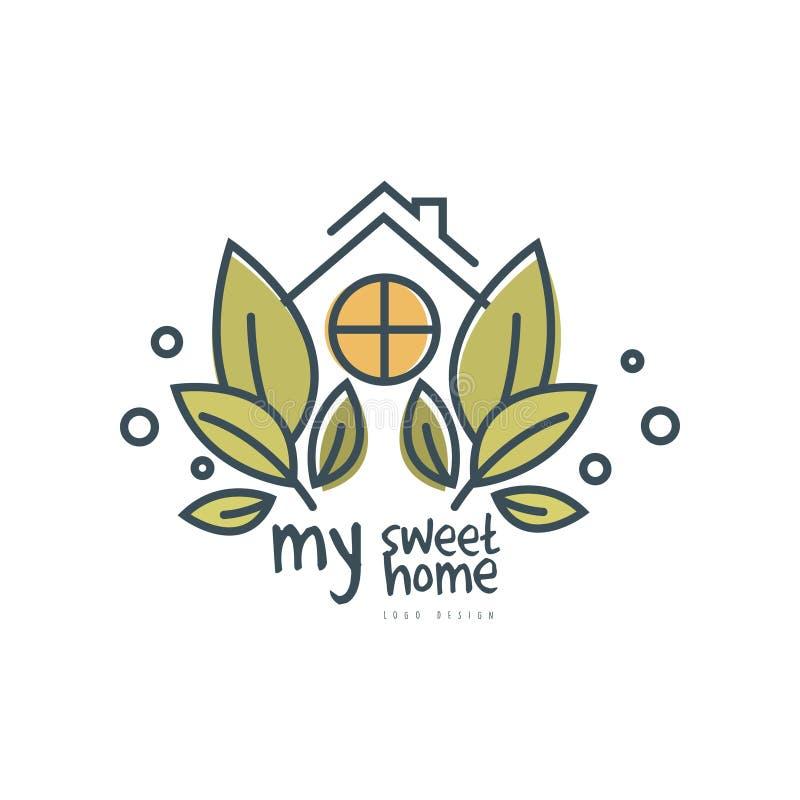 Mój słodki domowy loga szablonu projekt, eco życzliwego domowego pojęcia wektorowa ilustracja na białym tle ilustracja wektor