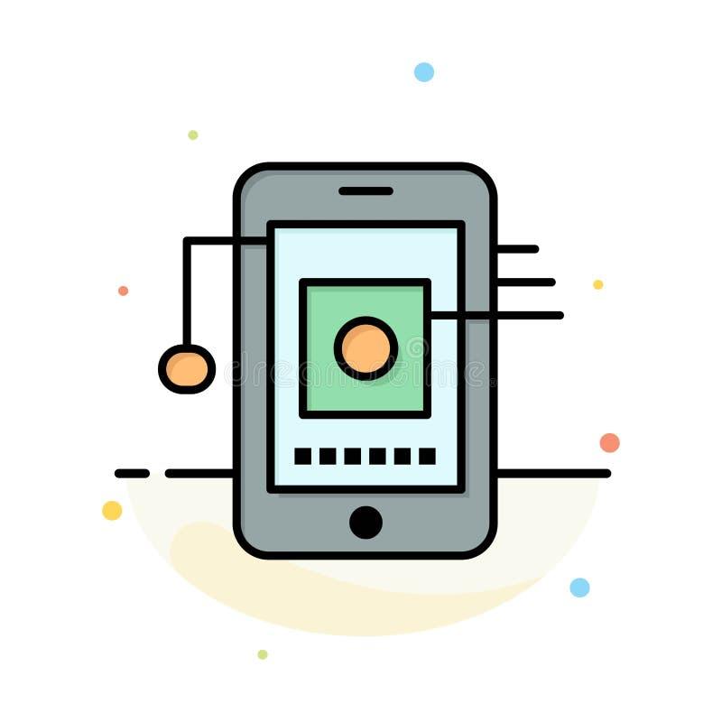 Móvil, célula, hardware, plantilla plana del icono del color del extracto de la red libre illustration