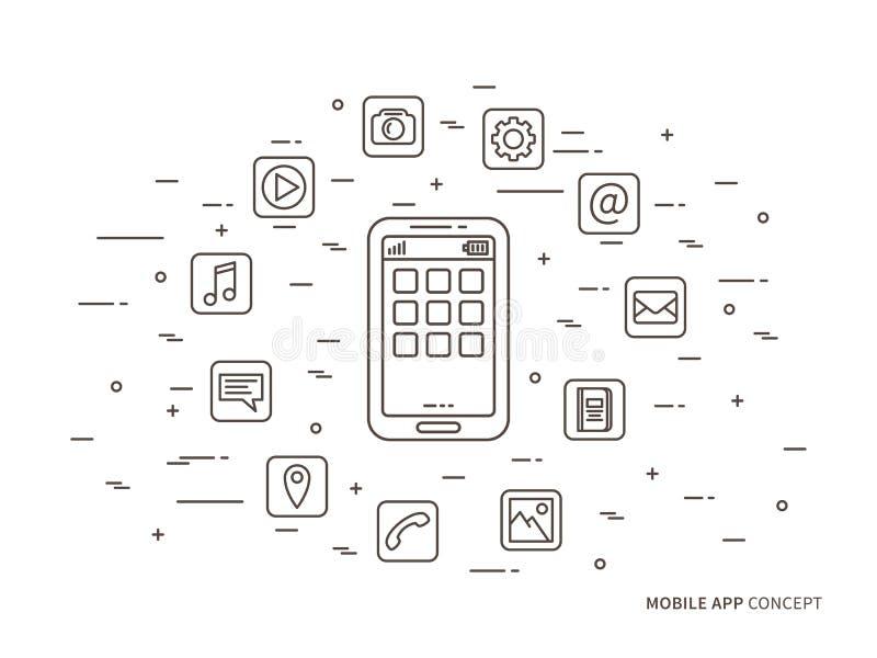 Móvil linear app, ejemplo del vector del uso del teléfono ilustración del vector