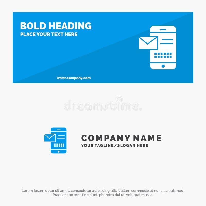 Móvil, mensaje, SMS, charla, recibiendo la bandera sólida y el negocio Logo Template de la página web del icono del SMS ilustración del vector