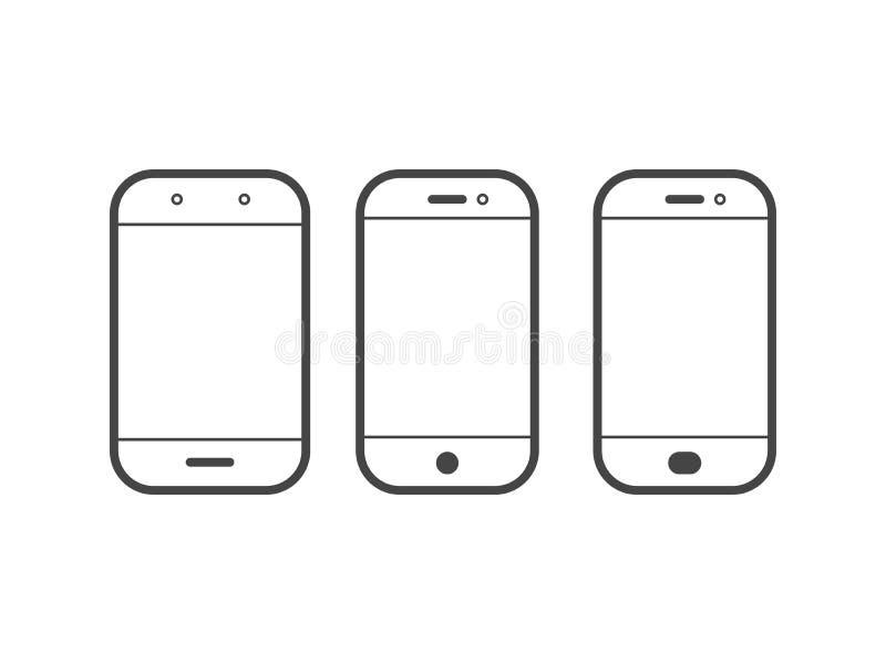 Móvil o icono simple del vector del esquema del teléfono celular ilustración del vector