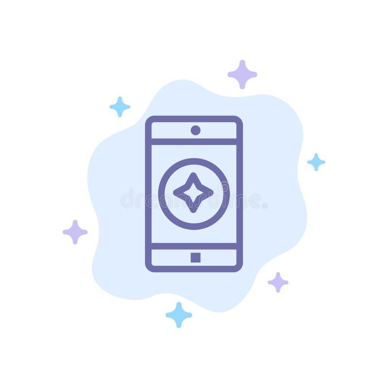 Móvil preferido, móvil, icono azul de la aplicación móvil en fondo abstracto de la nube libre illustration