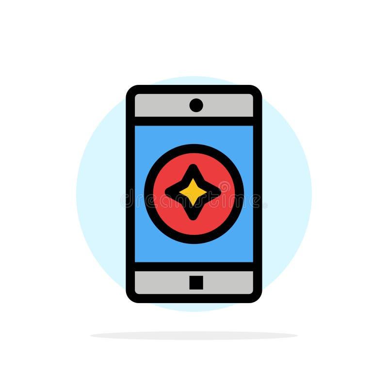 Móvil preferido, móvil, icono plano del color de fondo del círculo del extracto de la aplicación móvil ilustración del vector