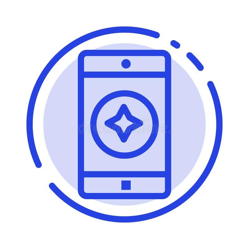 Móvil preferido, móvil, línea de puntos azul línea icono de la aplicación móvil libre illustration