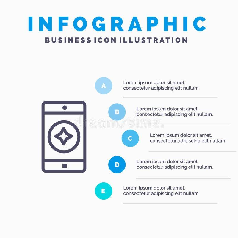 Móvil preferido, móvil, línea icono de la aplicación móvil con el fondo del infographics de la presentación de 5 pasos libre illustration