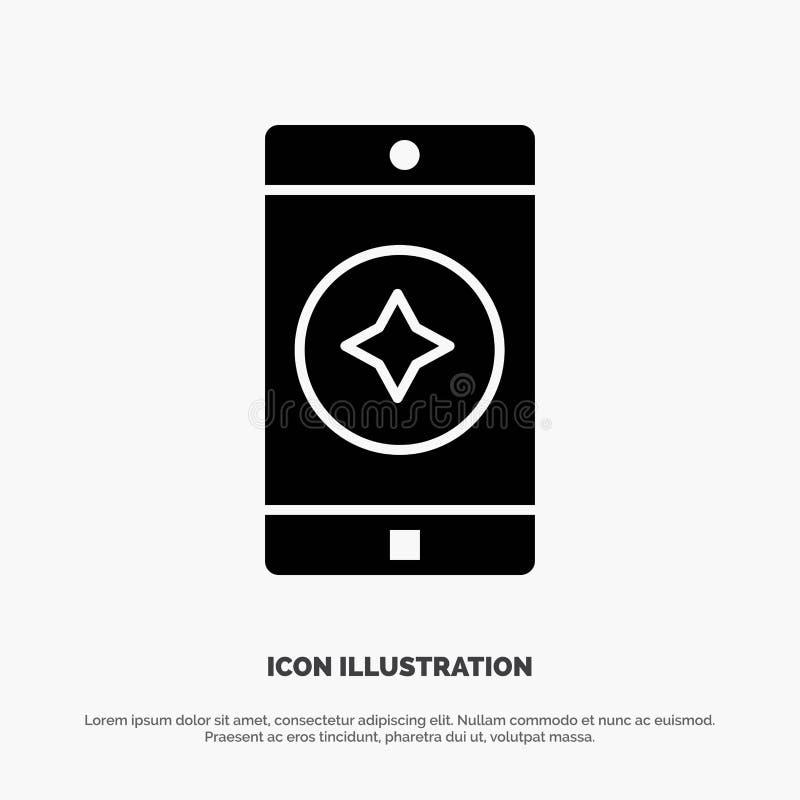 Móvil preferido, móvil, vector sólido del icono del Glyph de la aplicación móvil stock de ilustración