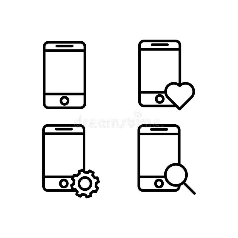 móvil, teléfono, lupa, corazón, iconos de la muestra del engranaje Elemento de los iconos del botón del esquema Línea fina icono  ilustración del vector