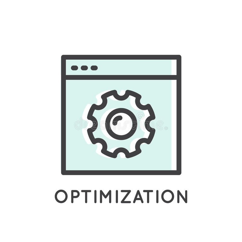 Móvil y herramientas de desarrollo del App y procesos, optimización, Seo stock de ilustración
