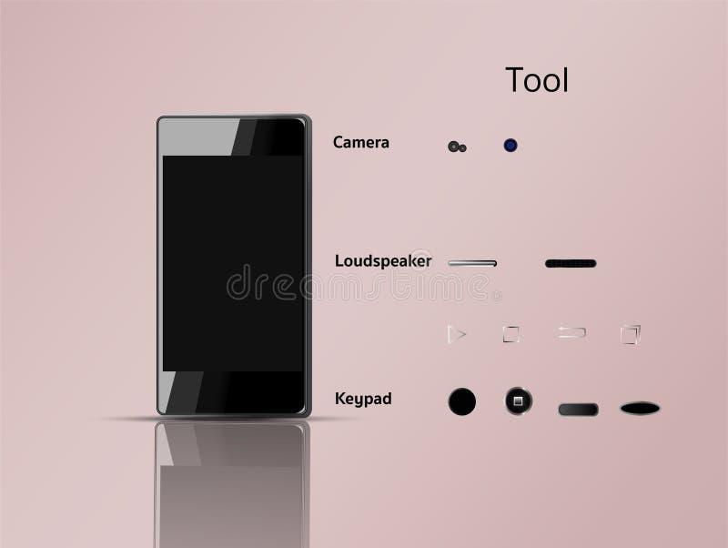 Móvil y herramientas que se pueden utilizar comfortablemente libre illustration