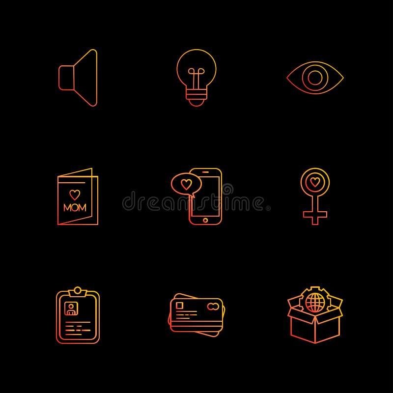 Mówca, żarówka, oko, kobieta, pudełko, kula ziemska, mama, schowek, p royalty ilustracja