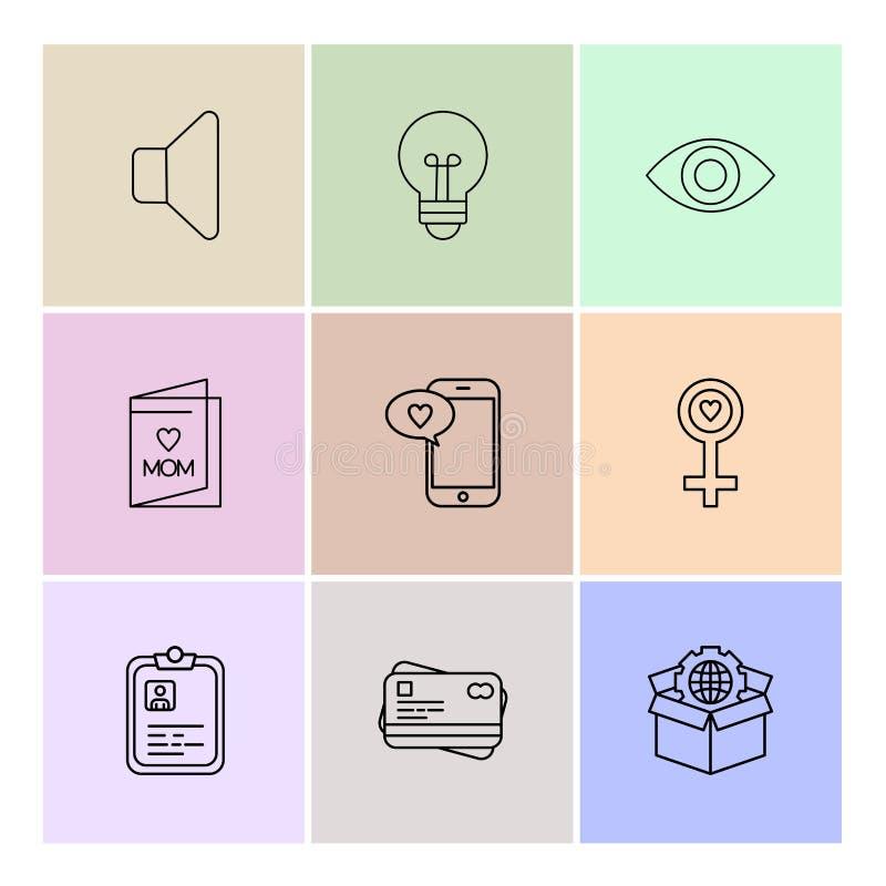 Mówca, żarówka, oko, kobieta, pudełko, kula ziemska, mama, schowek, p ilustracja wektor