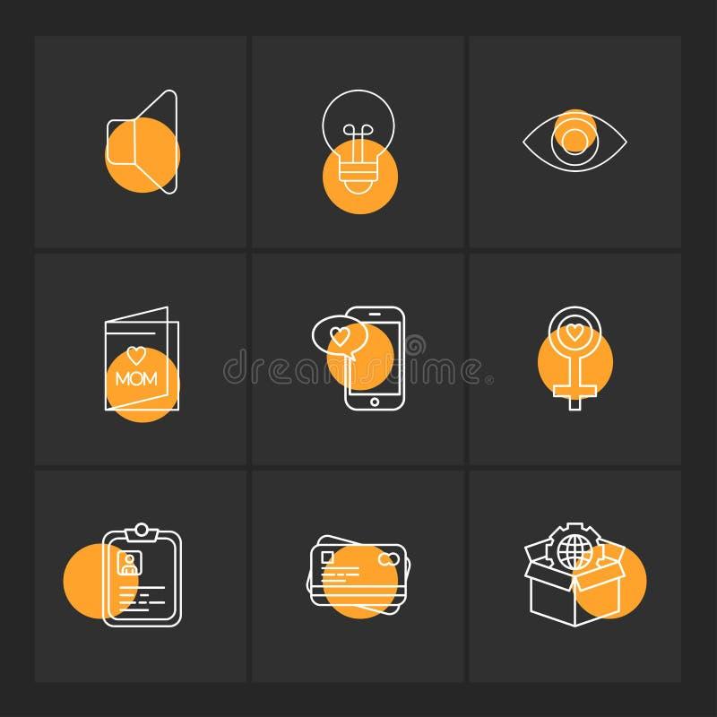 Mówca, żarówka, oko, kobieta, pudełko, kula ziemska, mama, schowek, p ilustracji