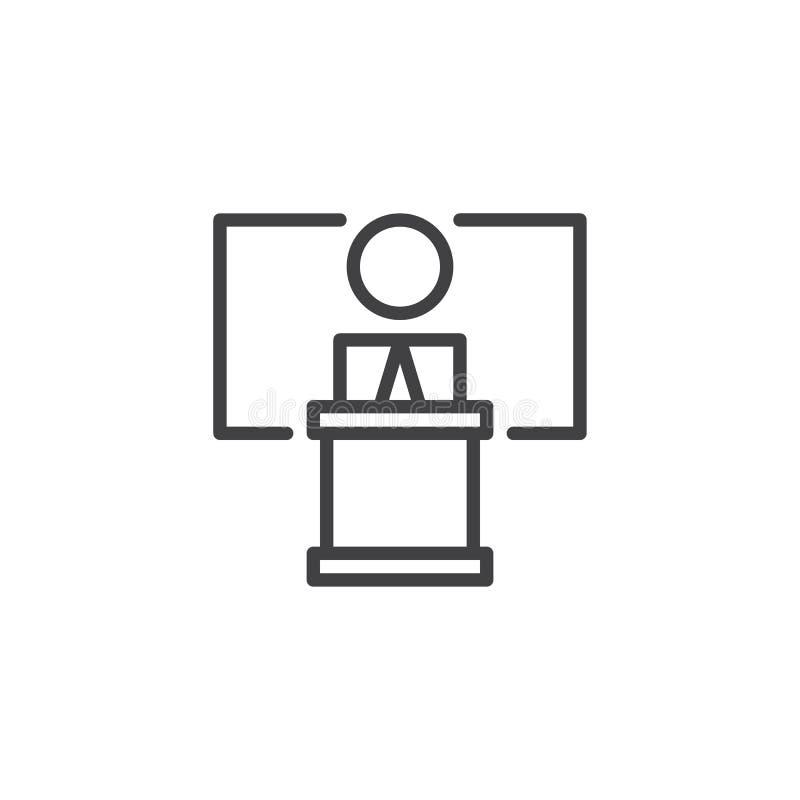 Mówca, konferencyjna kontur ikona ilustracja wektor