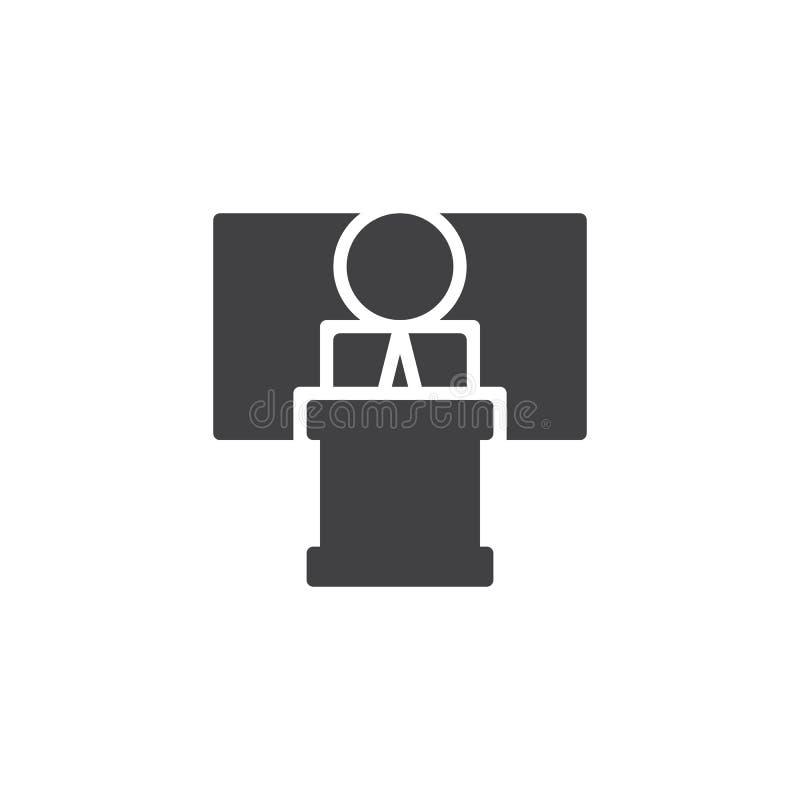 Mówca, konferencyjna wektorowa ikona ilustracji