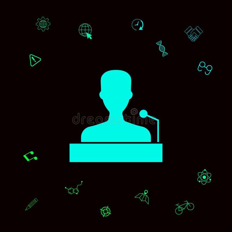 Mówca, krasomówcy mówienie od trybuny ikony Graficzni elementy dla twój designt ilustracja wektor