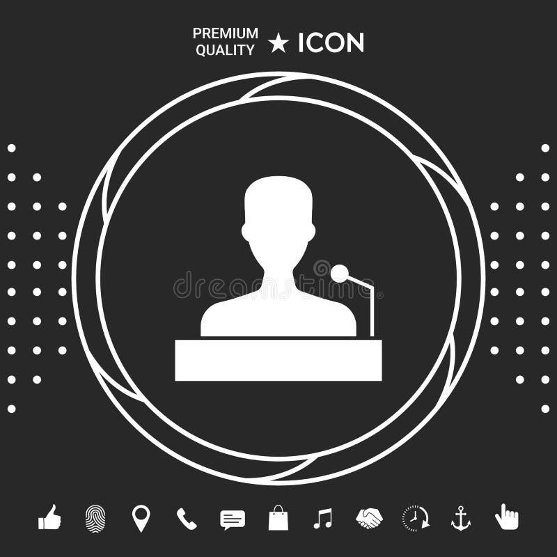 Mówca, krasomówcy mówienie od trybuny ikony Graficzni elementy dla twój designt royalty ilustracja