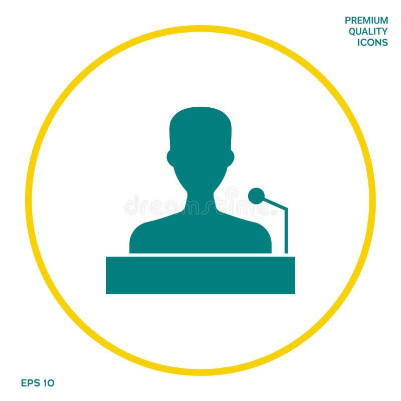Mówca, krasomówcy mówienie od trybuny ikony Graficzni elementy dla twój projekta ilustracja wektor