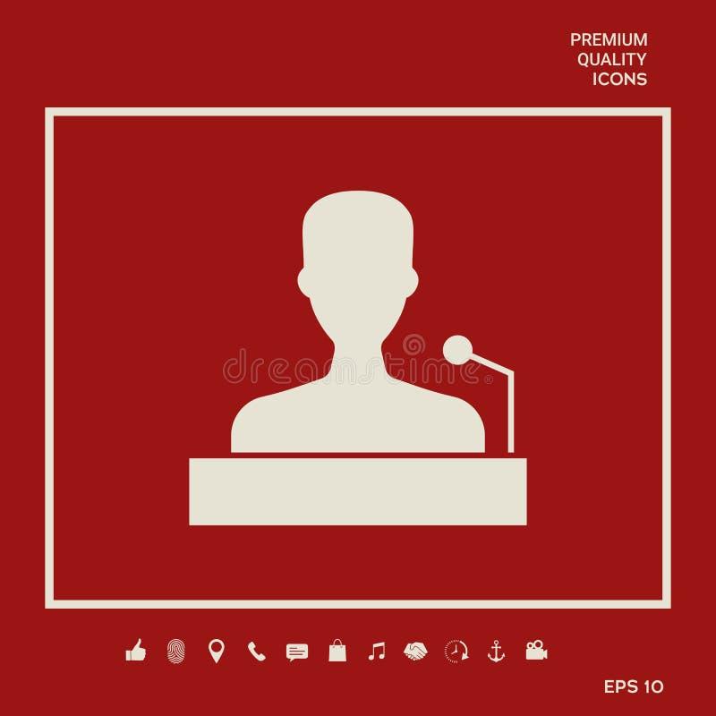 Mówca, krasomówcy mówienie od trybuny ikony Graficzni elementy dla twój projekta royalty ilustracja