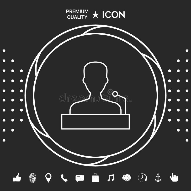 Mówca, krasomówcy mówienie od trybuny - kreskowa ikona Graficzni elementy dla twój designt ilustracja wektor