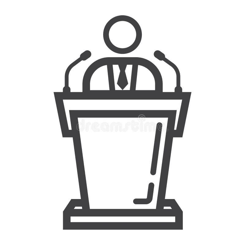 Mówca kreskowa ikona, biznes i trybuna, royalty ilustracja