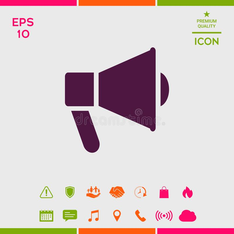 Mówca, megafon ikona ilustracja wektor