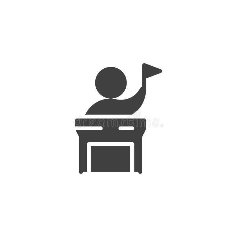 Mówca z chorągwianą wektorową ikoną ilustracja wektor