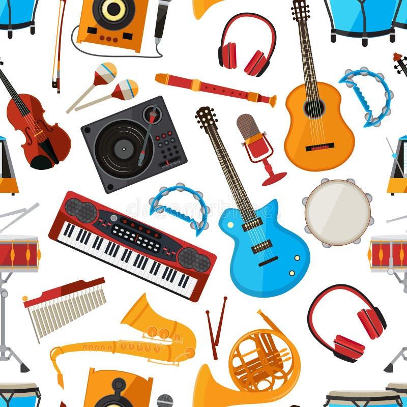 Mówcy, amplifikator, syntetyk i muzyczni instrumenty, akcesoria i wektor bezszwowy wzoru ilustracji