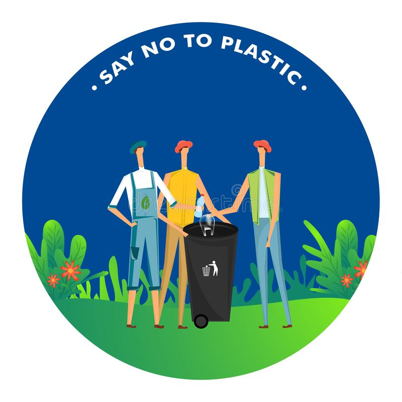 Mówić Nie klingeryt, mężczyzny rzutu klingeryt w koszu na śmiecie dla zanieczyszczenia royalty ilustracja