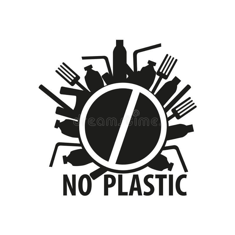 Mówić nie plastikowych worki i butelki, przerwa klingerytu odpady zanieczyszczenie przygotowywa ikon? ilustracja wektor