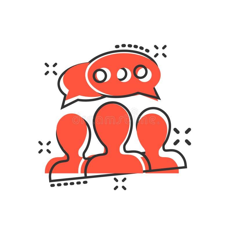 Mówi gadki szyldową ikonę w komiczka stylu Gulgocze dialog kreskówki wektorową ilustrację na białym odosobnionym tle Dru?ynowa dy ilustracja wektor