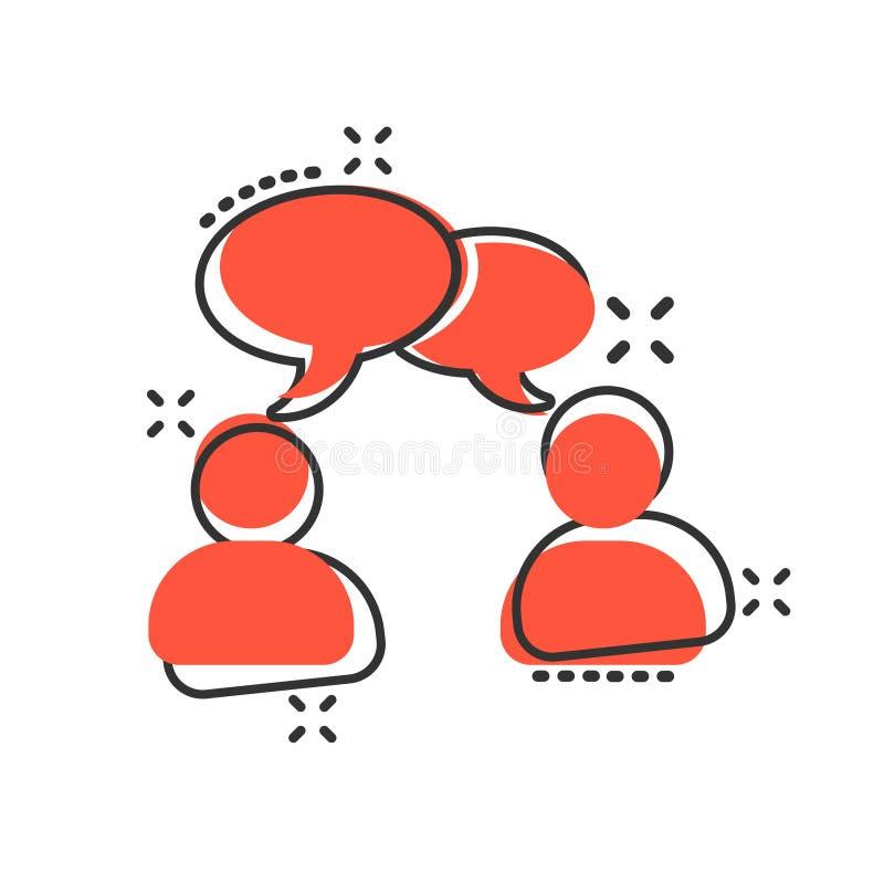 Mówi gadki szyldową ikonę w komiczka stylu Gulgocze dialog kreskówki wektorową ilustrację na białym odosobnionym tle Dru?ynowa dy ilustracji