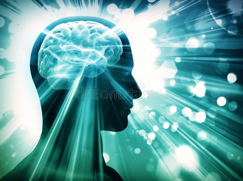 Mózg, światła, pojęcie ilustracji