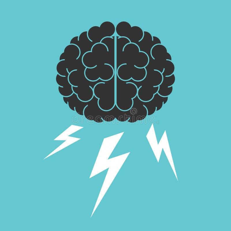 Mózg, błyskawicy, brainstorming royalty ilustracja
