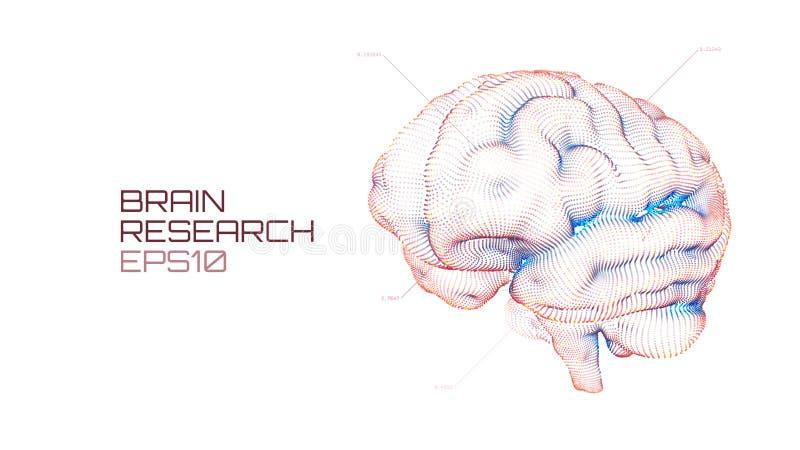 Mózg badawczy futurystyczny medyczny ui IQ testowanie, sztucznej inteligenci emulation nauki wirtualna technologia ilustracji