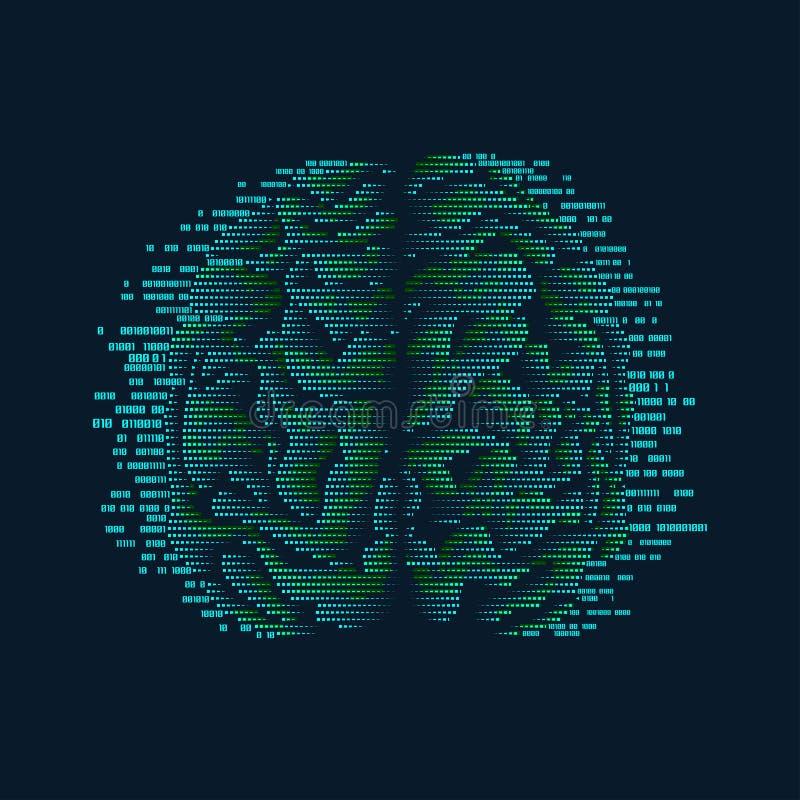 mózg binarny ilustracji