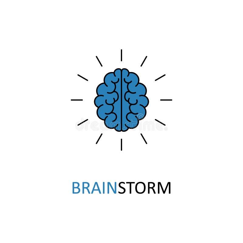 Mózg, brainstorming, pomysł, twórczość logo i ikona, wektor ilustracja wektor
