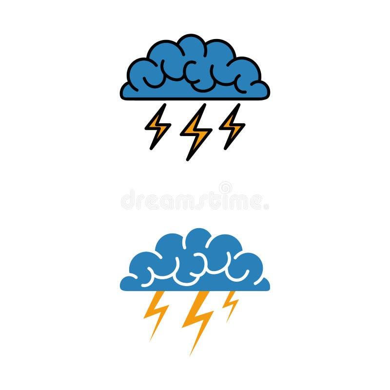 Mózg, brainstorming, pomysł, twórczość logo i ikona, wektor royalty ilustracja
