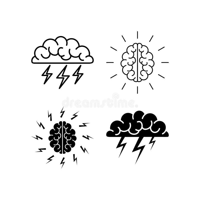 Mózg, brainstorming, pomysł, twórczość logo i ikona, wektor ilustracji
