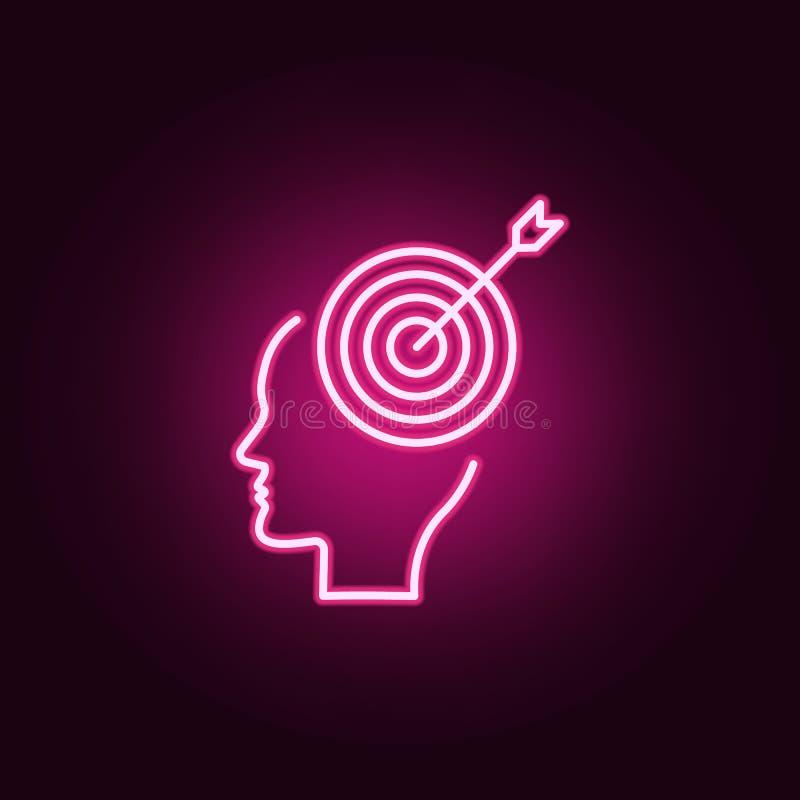 Mózg, cel, celuje neonową ikonę Elementy Kreatywnie główkowania set Prosta ikona dla stron internetowych, sieć projekt, mobilny a ilustracji