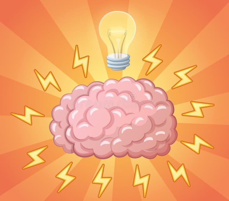 Mózg i ligh żarówka jako pomysł ilustracja wektor