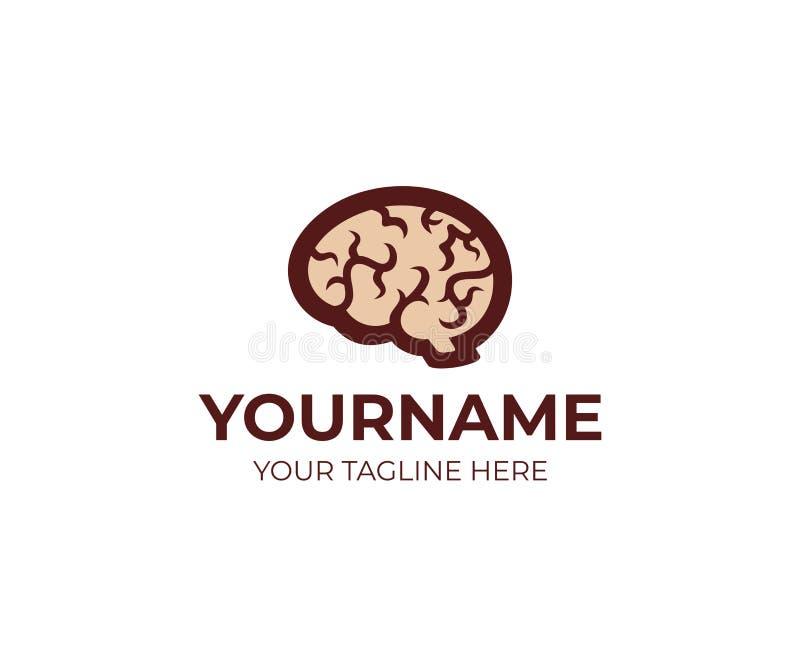 Mózg i umysł, loga szablon Symbol medyczny, twórczość, kreatywnie pomysł, umysł, główkowanie, wektorowy projekt royalty ilustracja